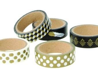 Set of 5 Masking Tape decorative black white and Gold - tape - label Ribbon - Ribbon sticker - Masking Tape pen