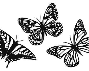 3 embellishments black Butterfly in Velvet cut - Velvet - Butterfly embellishment paper embellishments - Laser 40960001