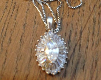 Sterling Silver Marquise CZ Pendant