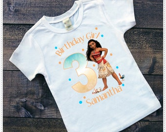 Moana  Birthday Tee or Bodysuit; Sizes 6 Mth and up' Bodysuits or Tee Shirt; Free Personalization