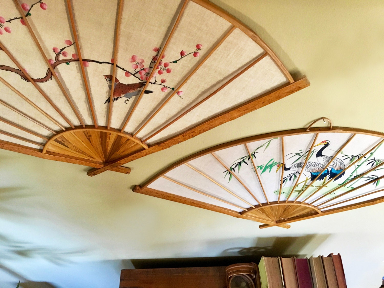 Vintage Asian Handpainted Fans Wall Hanging Set / Wall Decor with ...