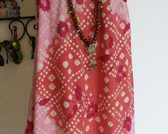 Cotton dress and crochet. Mirrors. Dress longue.rose been. Backless dress.