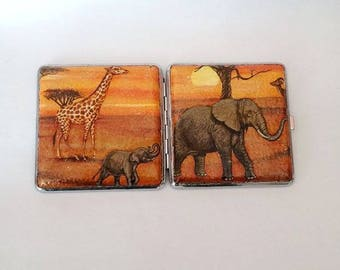 Cigarette case with African animals, Cigarette case metal, Case cigarette African animals , Cigarette box,African animals case cigarette,