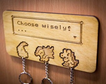 "Pokemon Inspired ""Choose Wisely!"" Lasercut & engraved keyring and wall mount - Johto"