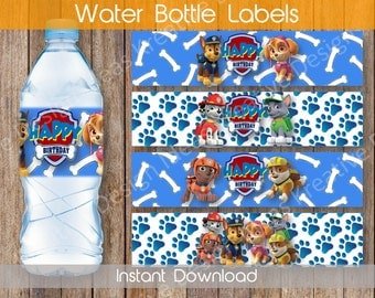 Paw Patrol Water Bottle Labels, Water Bottle Labels or Stickers, Paw Patrol Party Theme Birthday Party - INSTANT DOWNLOAD