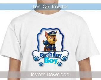 Paw Patrol Birthday Boy Iron On Transfer Paw Patrol Iron on Transfer INSTANT DOWNLOAD