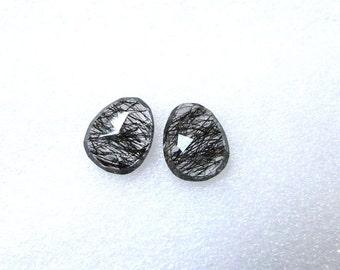 2 pieces pair BLACK Rutilated Rosecut Uneven Cabochon rosecut ( 11x13 mm -2 pcs) Black Rutile Faceted Irregular Rosecut Cabochon Gemstone