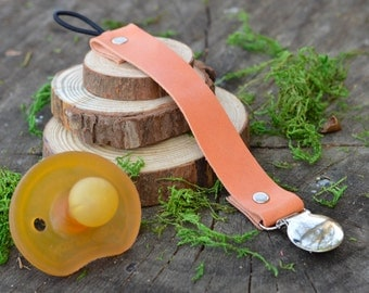 Sunset Leather Pacifier Clip