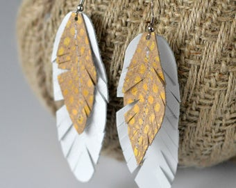 The Opal Leather Feather Earrings // Leather Earrings // Feather Earrings // Boho Earrings