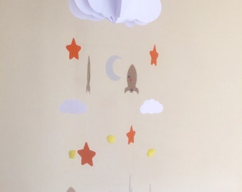 3D cloud, rockets, moons, stars and mini clouds baby mobile