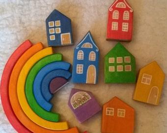 SET: Wooden House Blocks/ Education Toys/ Home Decoration/ Kids Room Decor/ Wooden village set / Waldorf Toy / Miniature village / safe toys