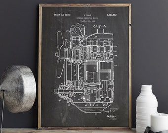 Internal Combustion, Engine Poster, Combustion Engine, ICE Printable, Ice Poster, Car Parts Print,Henry Ford,Engine Patent, INSTANT DOWNLOAD