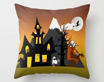 Halloween Pillow, Haunted House Pillow, Cute Pillow, Autumn Pillow, Spooky Pillow, Funny Pillow, Werewolf Pillow, Throw Pillow Cover, Decor