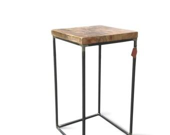 Side table/ reclaimed wood/ solid steel/ Industrial