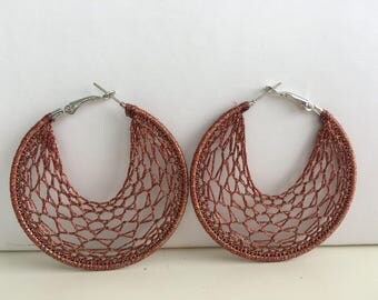 "Crochet hoops  2 1/4 "" in Coppery  Brown"