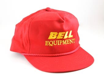Vintage Red Bell Equipment Snapback Hat // Vintage Trucker Hat // Trucker Baseball Cap with Rope Detail