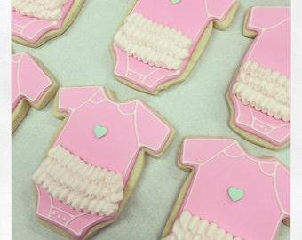 Custom Baby Onesie with Ruffle Sugar Cookies!