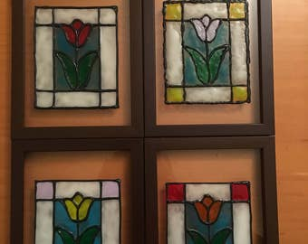 Stained Glass, Stained Glass Flower, Sun Catcher, Stained Glass Painted Frame