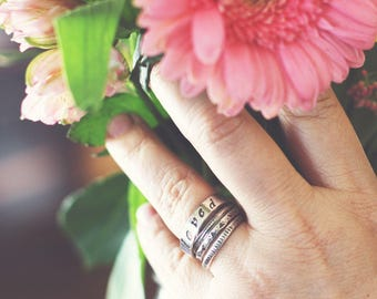 4 Textured and Stamped Sterling Silver Stacking Rings