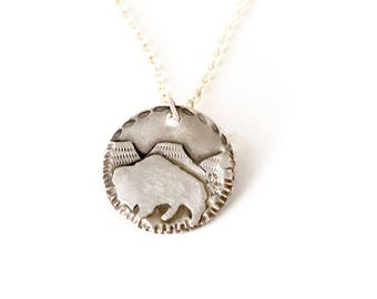 Buffalo Sterling Silver Medallion Necklace