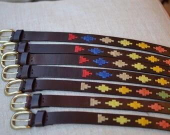 Women belt, embroidered belt handmade with waxed threads, Argentina leather belt, women belts, women leather belts, summer colors