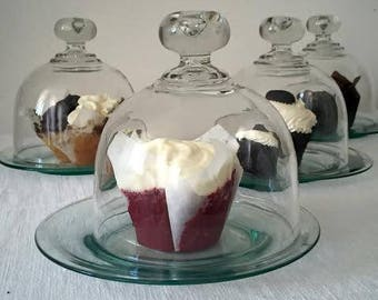 """SET 4 Small Glass Domes and Plates - Individual Serving Cloches - Shelf Display - Small Glass Domes - Cloches 5"""" Diam - Plates 7"""" Diam"""