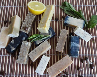 Soap Sample Bundle, Bulk Natural Handmade Soap, 12 piece Sample bundle, Testers, Birthday gift, Paraben Free, SLS Free, Hamper box  12*25g