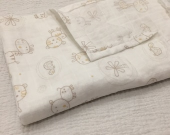 Animal Muslin Cotton Baby Blanket, thin baby blanket,