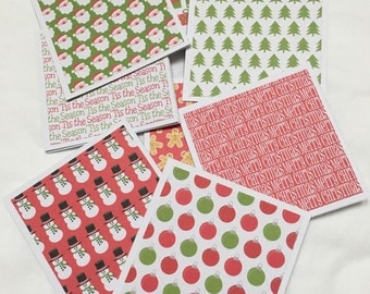 """8 Mini Note Cards & Envelopes 3"""" x 3"""" Christmas Thank You Gift Notes N025"""