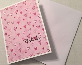 4 Handcrafted Thank You Stationery Note Cards with Envelopes NC018