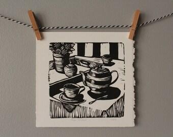 tea time, tea print, tea pot art, tea cup, black and white, art print, linocut, home decor,art print