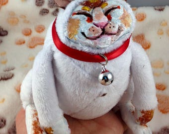 Ooak fat cat art doll plush lucky cat
