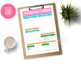 Weekly budget planner insert, printable. Week expenses register. A4 Size, Portrait. Instant download.
