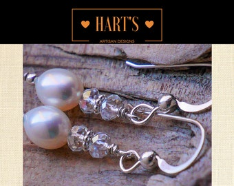 Teardrop Pearl Quartz Crystal Argentium Silver Earrings