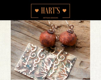 Bohemian 14K Gold Stoneware Dangle Earrings