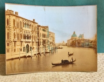 Vibrant Large Hand Colored Photograph of Venice Canal and St. Marks Cathedral