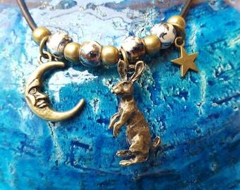 Handmade moon hare pendant