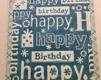 Happy Birthday Embossed Birthday Card