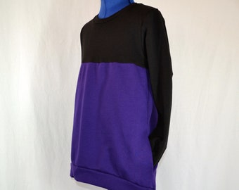Purple and Black Tunic Length Sweatshirt with Sleeves- Sizes 2T-12
