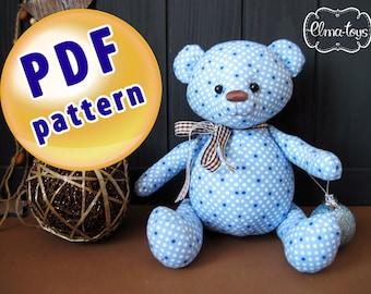 Bear Pattern of fabric. Author's toy bear pattern. Pattern soft toy bear.