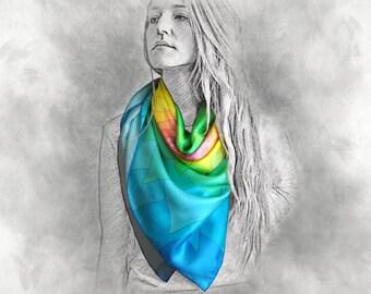 BEGINNING silk scarf, rainbow scarf, silk shawl, colorful scarf, gift for her, multicolor scarf, shawl, long scarf, printed silk scarf