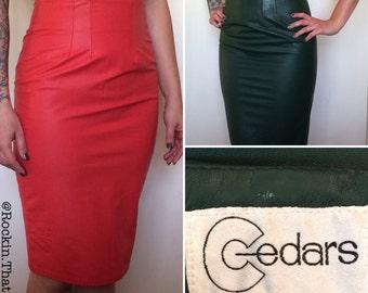 High Waisted Leather Pencil Skirt by Cedars