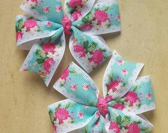 Shabby chic pinwheel hair bows   Pigtail bows   floral bows