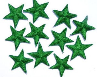 Green star patches > Pack of 3 > iron-on or sew-on > very pretty!