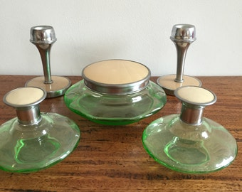 Vintage dressing table set - green glass and enamel - Art Deco style - 1930s to 1950s - vintage home