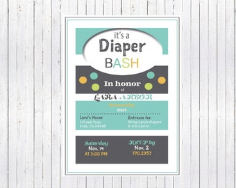 Diaper Bash Baby Shower Invite, Digital Download, In Honor of Mommy Shower, Gender Nuetral Baby Shower, Boy or Girl, Teal and Gray Nursery