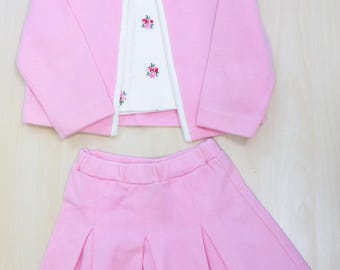 Vintage 1950s TRICIA Little Girls Pink White Jacket Skirt Shirt 3 Piece Suit Size 5