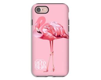 Flamingo phone case, monogram iPhone case,  iPhone 7 case, iPhone 7 Plus case, flamingos iphone 6s case/6s Plus/6/6 Plus/5s case