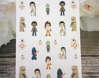 25 Star Wars Stickers / Chibi Planner Stickers / Deco Sheet