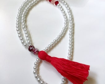 Red Tassel Necklace, Pearl Tassel Necklace, Inspirational Necklace, Tassel Necklace, Long Necklace, Beaded Necklace, Crystal Necklace, Gift.